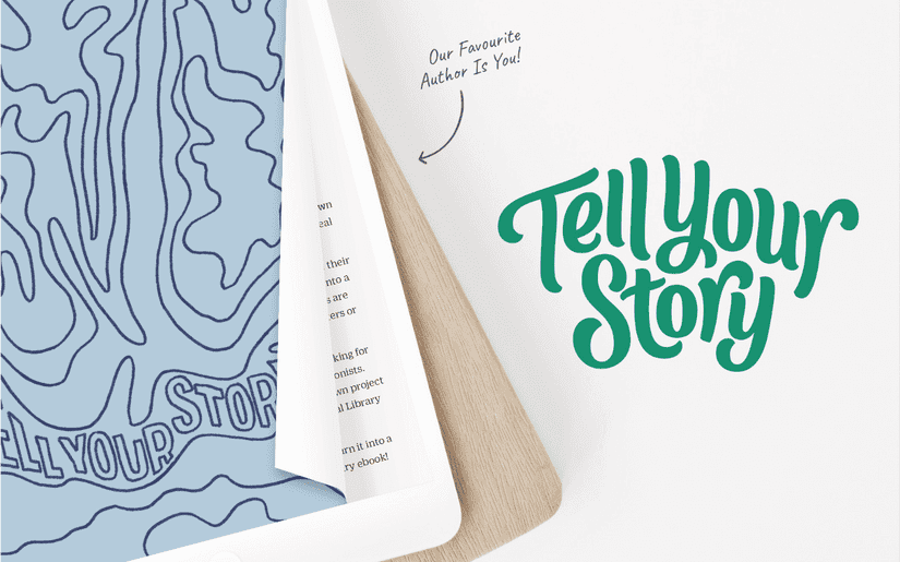 "Tell Your Story Logo next to an iPad with illustrated book cover and the slogan ""our favourite author is you!"""