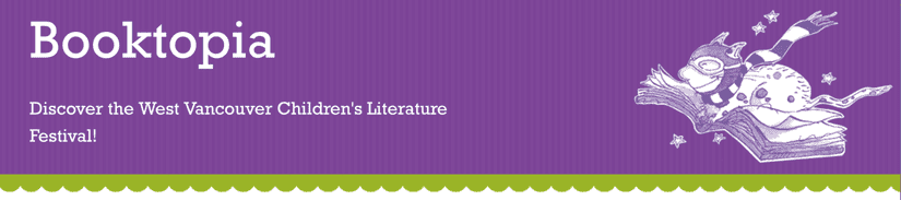 "Purple banner with ""Booktopia"" in a slab serif on the left and a white etched illustration of a cat flying in a book on the left"