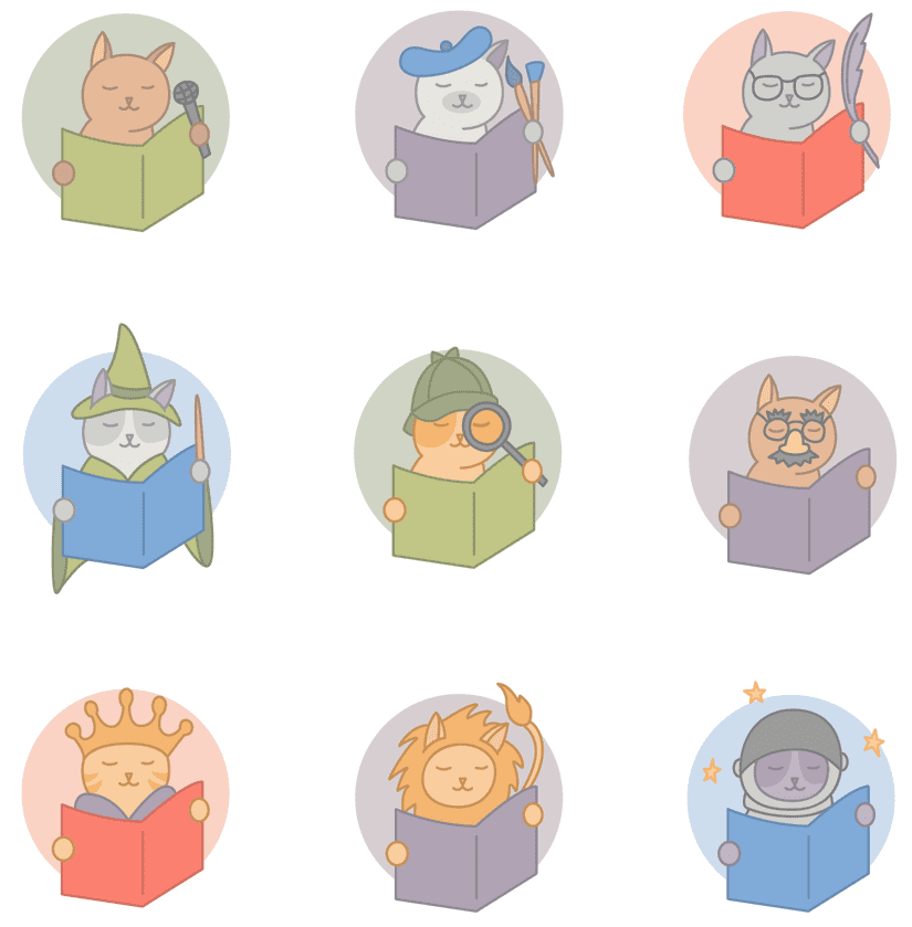 9 icons of cats reading books while wearing different hats or holding props such as paintbrushes, wands, spyglasses, space helmets, kings crowns, lion costumes, and microphones