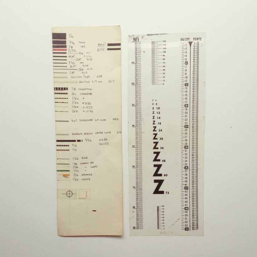 A hand made chart of border tapes next to a point size ruler for graphic design layouts