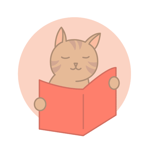 Icon of a cat reading a red book