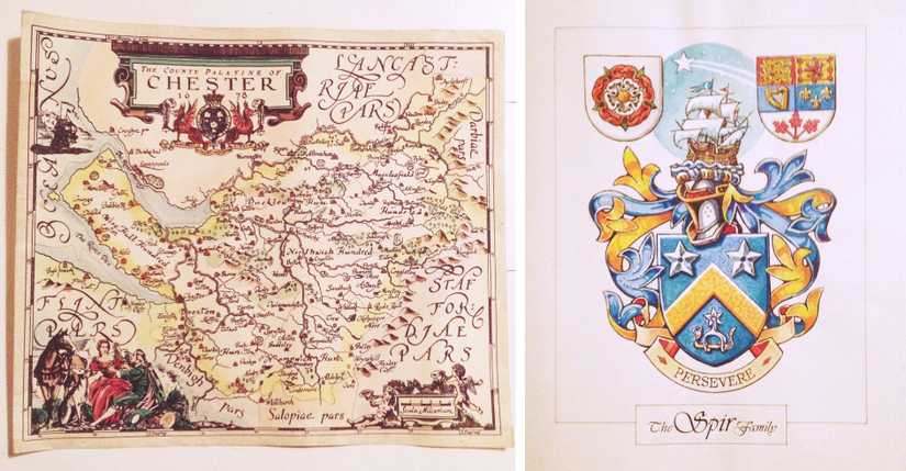Hand drawn map of Chester with decorative calligraphy next to a watercolour rendition of the Spir family crest
